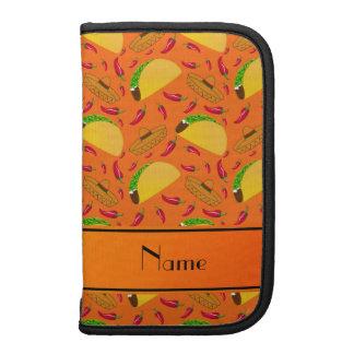 Personalized name orange tacos sombreros chilis folio planner