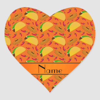 Personalized name orange tacos sombreros chilis heart sticker