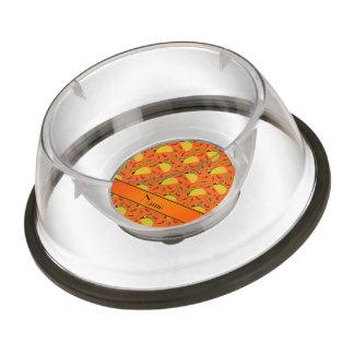 Personalized name orange tacos sombreros chilis pet bowl