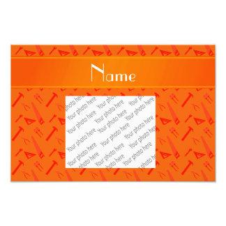 Personalized name orange tools pattern photo print
