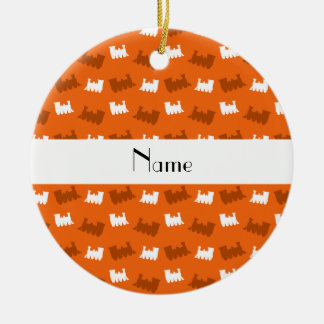 Personalized name orange train pattern Double-Sided ceramic round christmas ornament