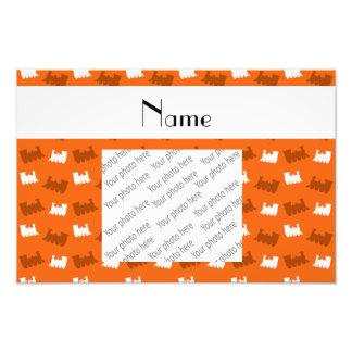 Personalized name orange train pattern photographic print