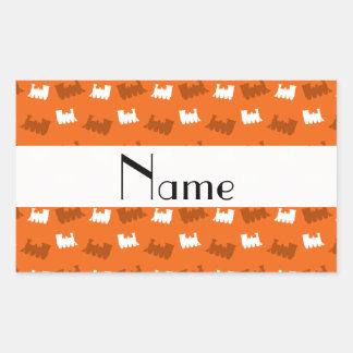 Personalized name orange train pattern stickers