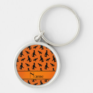 Personalized name orange trex dinosaurs Silver-Colored round keychain