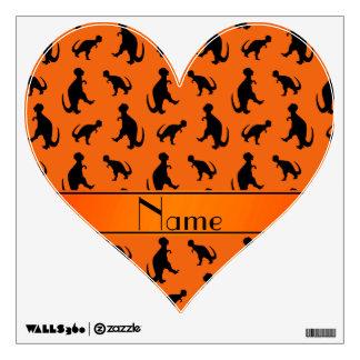 Personalized name orange trex dinosaurs room graphic