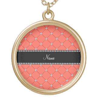 Personalized name orange tuft diamonds personalized necklace