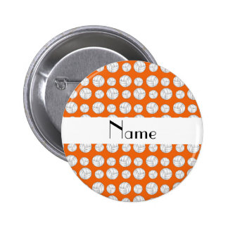 Personalized name orange volleyball balls 2 inch round button