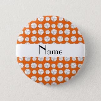 Personalized name orange volleyball balls pinback button