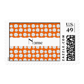 Personalized name orange volleyball balls postage