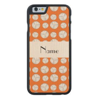 Personalized name orange volleyball balls carved® maple iPhone 6 case