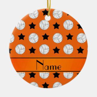 Personalized name orange volleyball black stars ceramic ornament