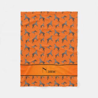 Personalized name orange Weimaraner dogs Fleece Blanket