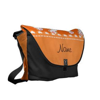 Personalized name orange white bunnies messenger bag