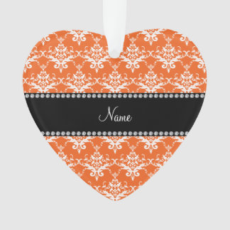 Personalized name orange white damask