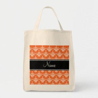 Personalized name orange white damask bags