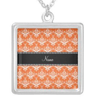 Personalized name orange white damask jewelry