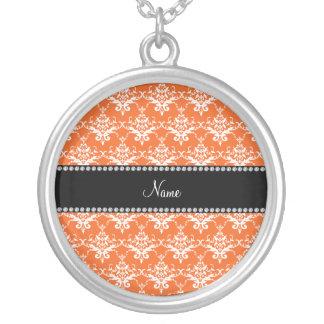 Personalized name orange white damask custom necklace