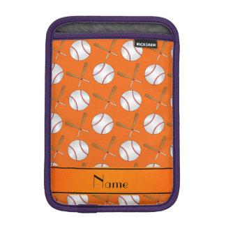 Personalized name orange wooden bats baseballs iPad mini sleeves