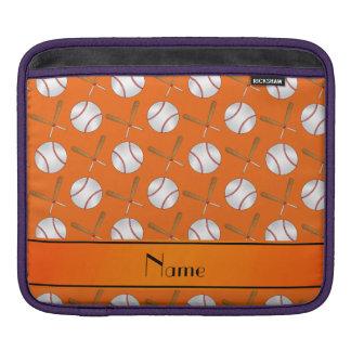 Personalized name orange wooden bats baseballs iPad sleeve