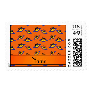 Personalized name orange wrestlers on mat postage