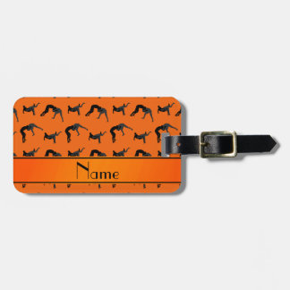 Personalized name orange wrestling silhouettes bag tag