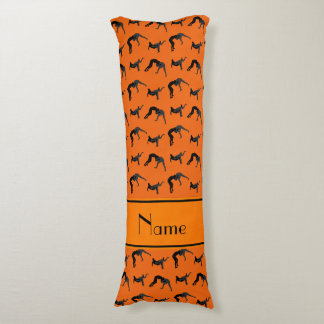 Personalized name orange wrestling silhouettes body pillow