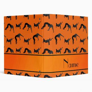 Personalized name orange wrestling silhouettes vinyl binders