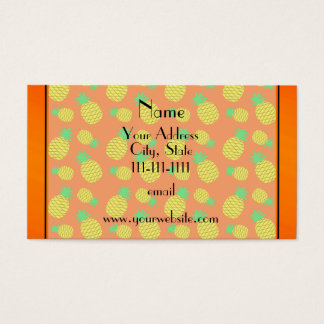 Personalized name orange yellow pineapples business card
