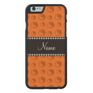 Personalized name orange ying yang pattern carved® maple iPhone 6 slim case