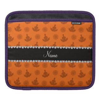 Personalized name orange yoga pattern iPad sleeve