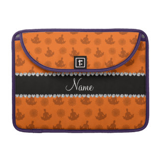 Personalized name orange yoga pattern sleeves for MacBook pro