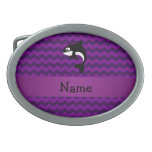 Personalized name orca whale purple chevrons oval belt buckles