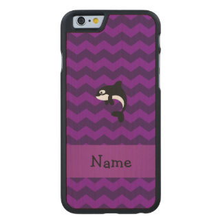 Personalized name orca whale purple chevrons carved® maple iPhone 6 slim case