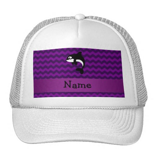Personalized name orca whale purple chevrons mesh hat