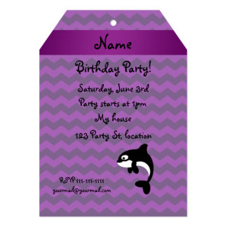 Personalized name orca whale purple chevrons cards