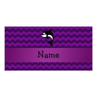 Personalized name orca whale purple chevrons photo card