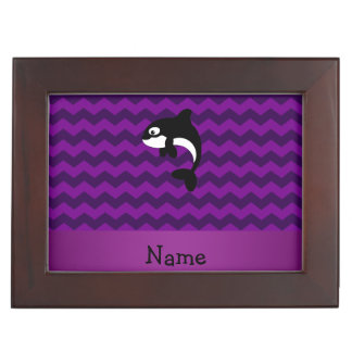 Personalized name orca whale purple chevrons keepsake boxes