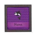 Personalized name orca whale purple chevrons premium jewelry box