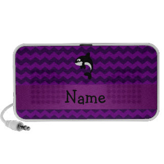 Personalized name orca whale purple chevrons iPhone speakers