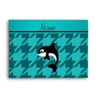 Personalized name orca whale turquoise houndstooth envelope