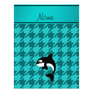 Personalized name orca whale turquoise houndstooth flyers