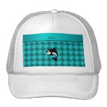 Personalized name orca whale turquoise houndstooth trucker hat