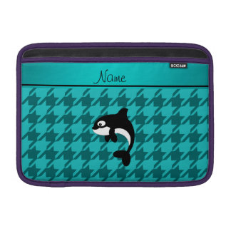 Personalized name orca whale turquoise houndstooth MacBook sleeves