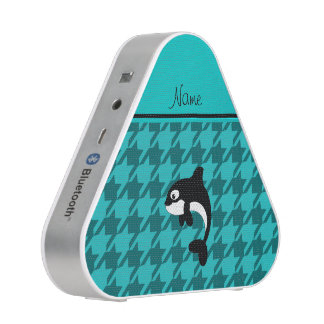 Personalized name orca whale turquoise houndstooth speaker