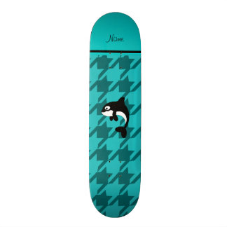 Personalized name orca whale turquoise houndstooth skate deck