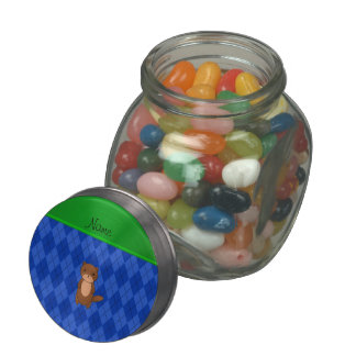 Personalized name otter blue argyle jelly belly candy jars
