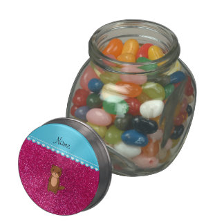 Personalized name otter neon hot pink glitter glass candy jar
