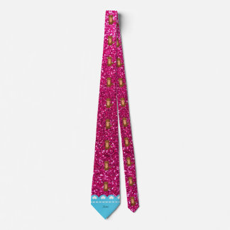 Personalized name otter neon hot pink glitter tie