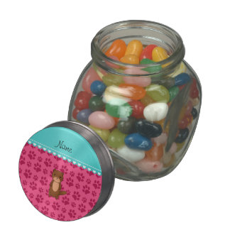 Personalized name otter pink paws jelly belly candy jar