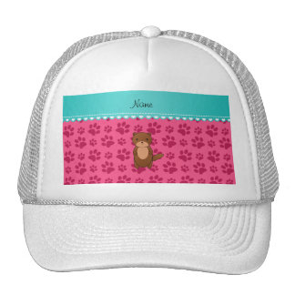 Personalized name otter pink paws hat